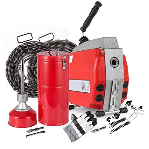 Mophorn Abflussreinigungsmaschine Ø20-160mm 400RPM 690W Abflussrohrreinigungsmaschine Schneckenfedern Set mit 16 22mm-Spiralen (HXGQ-160)