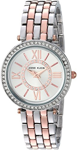 Anne Klein Women's AK/2967SVRT Swarovski Crystal Accented Two-Tone Bracelet Watch