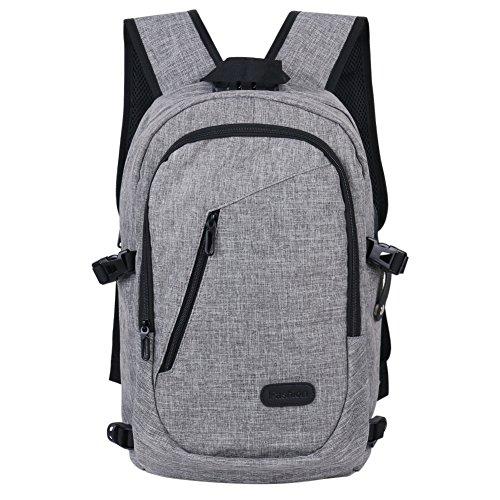 Reise-Laptop-Rucksack, professioneller Business-Rucksack mit USB-Ladeanschluss, Durable Leichter Schulrucksack mit Regenschutz, passend für 15.6-Zoll-Notebook-Grau