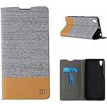 Fundas y estuches para teléfonos móviles, Premium PU cuero y Soft TPU caucho cartera Flip cubierta protectora con ranura para tarjeta / soporte para Sony Xperia X rendimiento ( Color : Blanco )