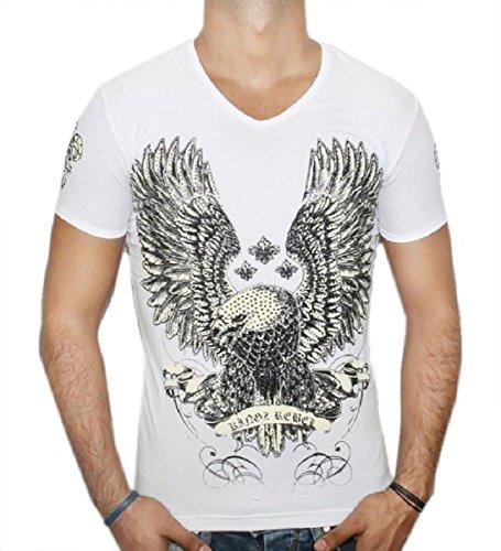 Kingz T-Shirt Rebel Eagle - weiß Größe L - Eagle Print Tee
