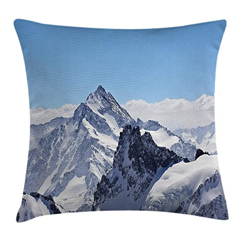 Winter Decor Throw Pillow Cushion Cover, Snowy Rocky Mountain Peaks Tops Scene High Lands ICY Frozen Swiss Outdoor Art, Decorative Square Accent Pillow Case, 18 X18 Inches, Blue White Rocky Mountain Quilt