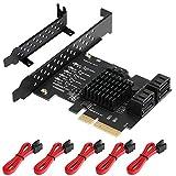 BEYIMEI Scheda PCIe SATA 5 Porte con 5 Cavi SATA, Scheda di espansione per Controller da PCIe a SATA, Scheda PCIe SATA 3.0 da 6 Gbps, Supporto per HDD o SSD (Chip Prodotto: JMicron JMS585)