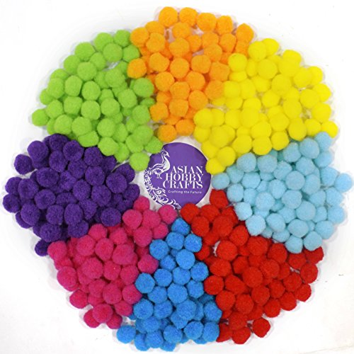 AsianHobbyCrafts synthetic pom pom : set of 8 colors (50pcs each)