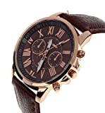 Reloj De Cuarzo De Los Hombres Mujeres, KanLin1986 Cuero PU Acero Inoxidable Analógico Cuarzo Reloj (K)