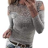 YOINS Sexy Schulterfrei Oberteil Damen Off Shoulder Top Bluse mit Spitze Langarm Spitzenbluse Mode Patchwork Tshirt Bluseshirt
