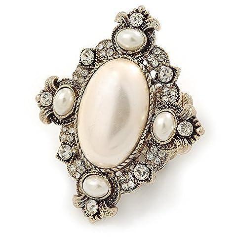 Inspiration Vintage Extra Large, ovale, cristal, perle Flex Bague Cocktail en or antique–60mm L–Taille 7/8