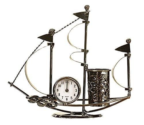 handgemachte Büroschreibtisch Ornamente Metall Schiff Tischuhr Stift Bleistifthalter Luxus-Geschenke Hauptdekoration