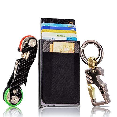 Porta Carte di Credito Portafoglio Nero Uomo Piccolo Sottile Slim Protezione RFID Tasca Banconote Portachiavi Intelligente Organizer Smart in Fibra di Carbonio Auto e Moto anche per Donna (8 Carte)