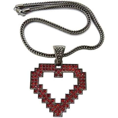Ematite/Rosso tono strass Pixel Ciondolo a forma di cuore w/45,7cm catena Franco mp777herd