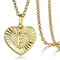 Trendsmax Heart Love Initial Letter F Alphabet Pendant Necklace Gift for Women Girls Gold Plated Stainless Steel Rolo Link Chain Necklace Length Personalized