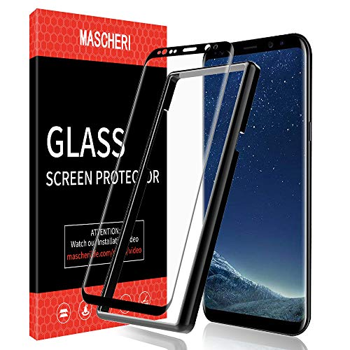 MASCHERI Protector de Pantalla para Samsung Galaxy S8, [3D Cobertura Completa] [Marco de posicionamiento] Cristal Vidrio Templado para Samsung S8 - Negro