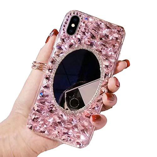 Obesky Glitzer Spiegel Hülle für Huawei P8 Lite 2017, Luxus Bling Diamant Strass Handyhülle Transparent TPU Silikon mit Hart PC Zurück Stoßfest Kratzfest Schutzhülle für Huawei P8 Lite 2017, Rosa