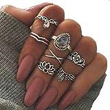 Chinget 7 Stk Blume Kristall geschnitzten Ring Set böhmischen Vintage Schmuck Frauen Zubehör (Silber)