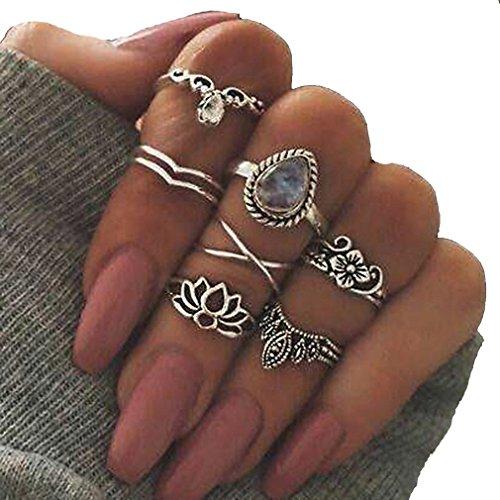 Zubehör Schmuck Frauen (Chinget 7 Stk Blume Kristall geschnitzten Ring Set böhmischen Vintage Schmuck Frauen Zubehör)