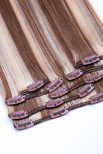 Clip In Extensions Set 100% Echthaar 7 teilig 70g Haarverlängerung 45cm Clip-In Hair Extension Nr. 12/613 Hellbraun Blond gesträhnt