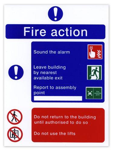 Hi-Glo - Cartello con istruzioni in caso di incendio, in inglese, plastica rigida, 200x150mm - Istruzione Caso