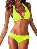 Lueyifs Damen Neckholder Bikini Set Sexy Halter Push Up Zweiteiliger Bikinis Einfarbig Badeanzug Bademode (S, Gelb)