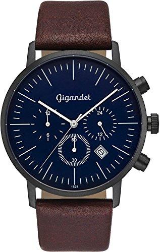 Gigandet cuarzo reloj de pulsera para hombre Minimalism III Dual Tiempo Reloj Fecha Analógico Pulsera de piel Negro Marrón Azul G22–002
