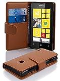 Cadorabo Hülle für Nokia Lumia 520 - Hülle in COGNAC BRAUN – Handyhülle mit Kartenfach aus struktriertem Kunstleder - Case Cover Schutzhülle Etui Tasche Book Klapp Style
