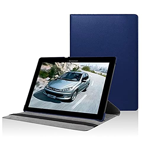 FanTEK Lenovo Tab 2 A10 A10-70 10-Inch Case - PU Leather Rubberized Hard Shell 360 Degree Rotating Stand Smart Cover (Dark Blue)