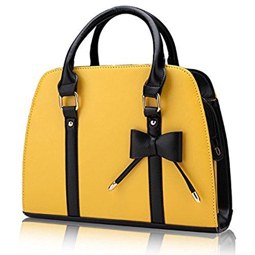 Bolsos bandolera puro clásico - Landove Mujer de Vintage Bolsos PU totes casual bolso de piel con lazo Morado Amarillo