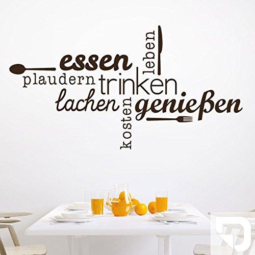 DESIGNSCAPE® Wandtattoo Essen Trinken Genießen   Wandtattoo Küche Esszimmer 100 x 54 cm (Breite x Höhe) weiss DW803463-M-F5