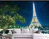 Wemall Fondo de pantalla fotográfica 3D, fondo de vinilo mágico de la noche de la noche de la Torre Eiffel de París de FCustom 3D, 250x175 cm (98.4 por 68.9 in)