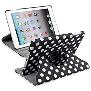 Pour Apple iPad Mini 1/2 360 Pivot Housse Coque Etui Protection Case, Noir/Blanc Polka Pois