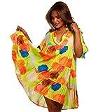 YC Fashion & Style Damen Tunika Kleid mit Patchwork Muster Boho Look Partykleid Freizeit Minikleid oder Strandkleid HP219 Made in Italy (One Size, Model15)