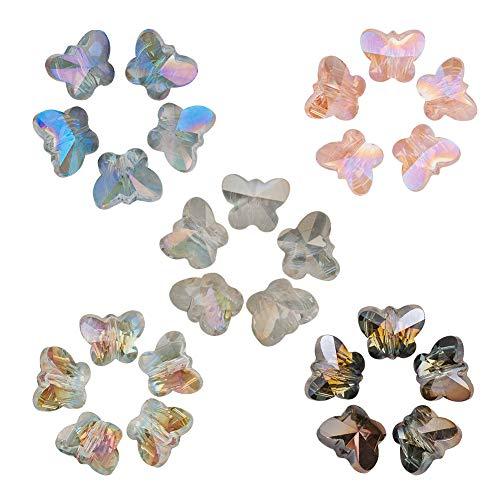 HOULIFE Zubehör 100Stk 10mm Bicolor Glas Perlen Spacer Beads in Schmetterling- Form zum Basteln Handarbeit DIY Schmuck Herstellung