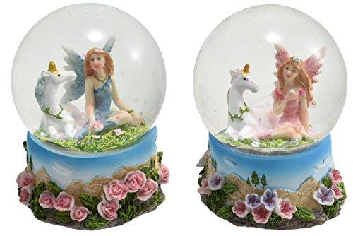 Schöne Fee und Einhorn Schnee Glitter Globe Waterball - Pink Design (Fee Fliegt)