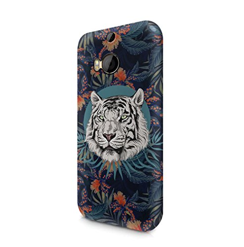 Maceste White Tiger Head Tropical Jungle Pattern Kompatibel mit HTC One M8 SnapOn Hard Plastic Phone Protective Fall Handyhülle Case Cover - Htc M8 Tiger Fall White One