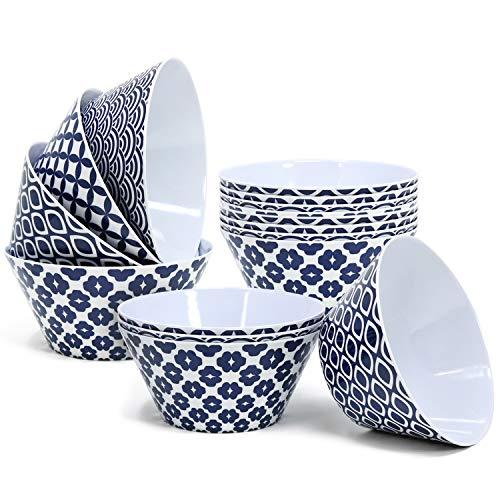 COM-FOUR® 16x Bols en mélamine dans différents motifs bleu/blanc, bols de céréales, Ø 14,5 cm (16 pièces - coquillages)
