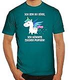 süßes Unicorn Glitzer Herren Männer T-Shirt Rundhals Einhorn - Zucker Pupsen, Größe: L,Diva