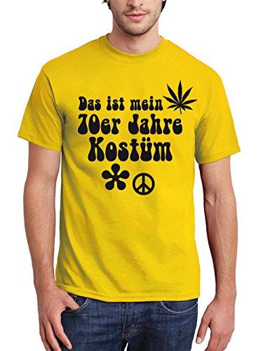 clothinx Herren T-Shirt Karneval Das ist Mein 70er Jahre Kostüm Gelb Größe L (Köln Karneval Kostüme)