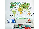Driverder Animal World Map Child Wall Background Sticker Child Bedroom Living Room (Colorful)
