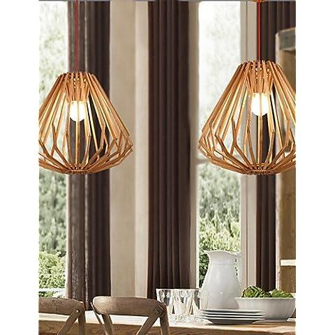 LYNDM-Mejor regalo de Navidad, las lámparas colgantes de madera originales de caña de color blanco cálido, moderno Hand-Woven-220-240v