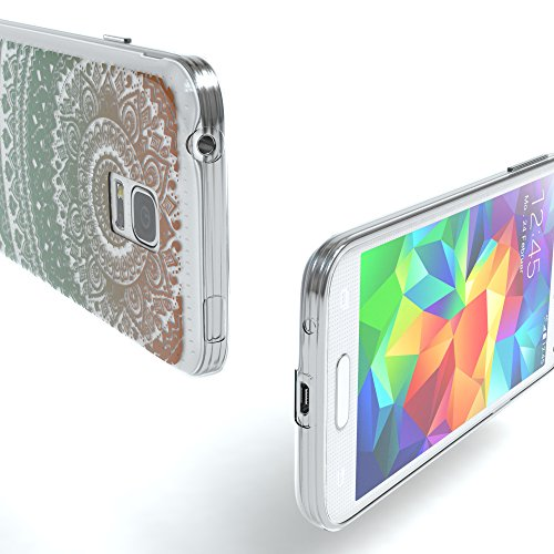 Samsung Galaxy S5 Mini Hülle - EAZY CASE Handyhülle - Ultra Slim Glitzer Schutzhülle aus Silikon in Gold Henna Gold / Grün