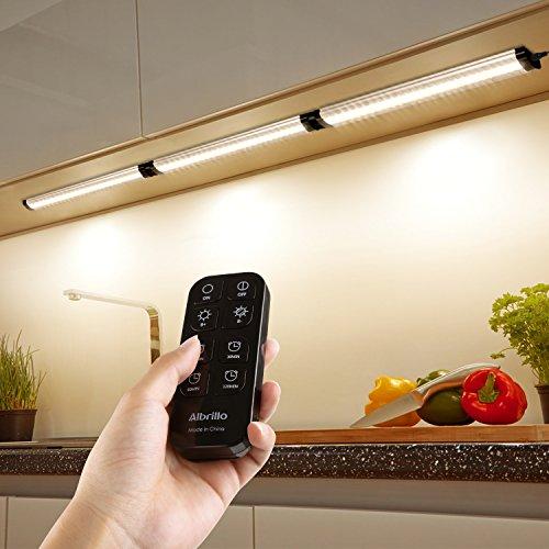 W LED Unterbauleuchten mit Timer Funktion und 360° Kontrolle Fernbedienung, 900LM dimmbare, IP40 und warmweiß, inkl. Montage-Zubehör (Licht Küchen-timer)