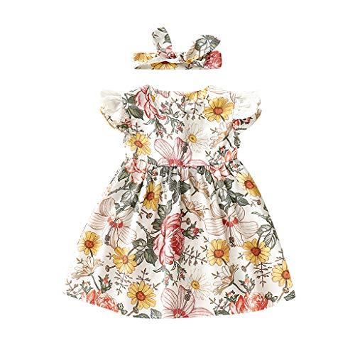Pooh 3 Stück Rock (Realde--Baby Mädchen Kleidung Set Rüschen Blumendruck Mini Kleid+Stirnband Set Infant Outfit Set 2 Stücke Kleinkind Neugeborenes Kinderkleidung Partykleid Festlich Babybekleidung Abendkleid)