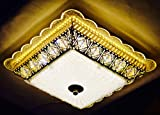 #4: Prop It Up Morden Square Shape Crystal LED Chandelier in Gold Finish (Warm White) with Light Changing Function