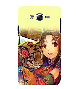 printtech Anime Cute Beautiful Girl Tiger Back Case Cover for Samsung Galaxy J7 / Samsung Galaxy J7 J700F