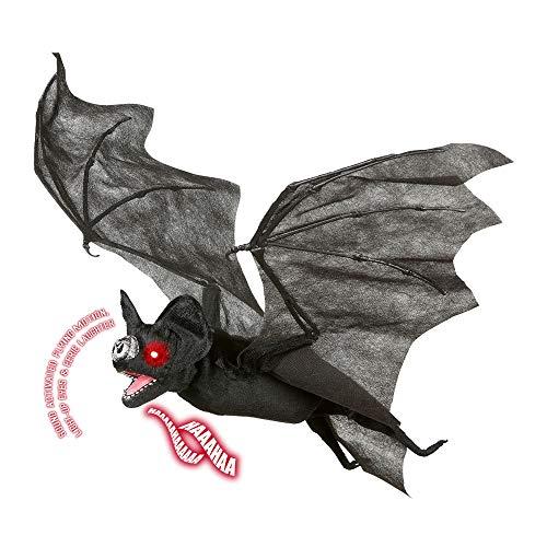 Fledermaus mit Flügelbewegung und leuchtenden Augen Unisex- Erwachsene Schwarz Taglia Unica ()