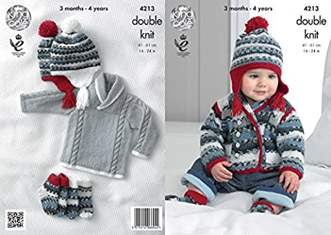 King Cole 4213 Knitting Pattern Baby Jackets Sweater Hat and Socks to knit in King Cole Comfort DK
