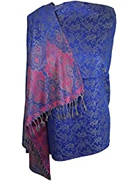 World of Shawls Ladies Floral Paisley Bordered Pashmina Feel Shawl Scarf Wrap Stole Luxuriously Warm Soft and Silky Touch