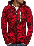 OZONEE Herren Sweatshirt Pullover Kapuzenpullover Camouflage Pulli Sweats Hoodie J.Style DD99-20 L Rot