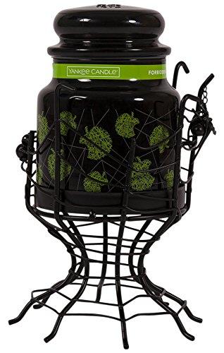Yankee Candle Halloween Set Spider Web Kerze Jar Halter & Schwarz Mittel-Duftkerze Jar, Metall schwarz matt plus Spooky hängende Dekoration Spider für Kamine/-Tische, metall, Jar Holder & Forbidden (Spider Halloween)
