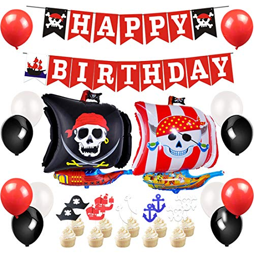 JOYMEMO Piraten Party Supplies - Piraten Partydekorationen mit Happy Birthday Banner, Folienballon, Cake Topper
