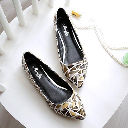 &qq Chaussures pour dames, bouche basse pointue à fond plat, chaussures de travail, chaussures de mode 36